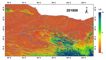 Landsat-based continuous monthly 30m×30m land surface LAI dataset in Qilian mountain area (2018)