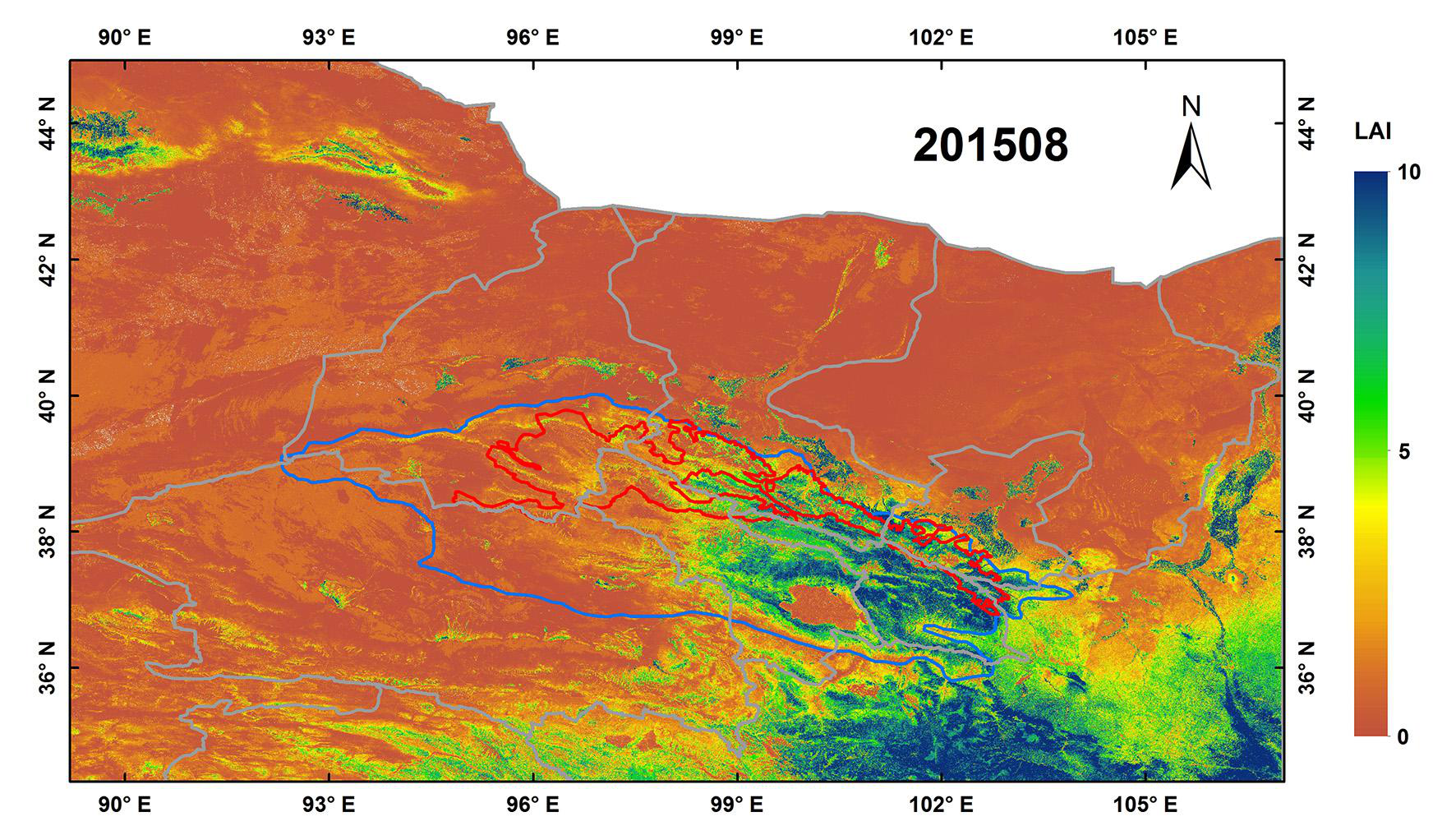 Landsat-based continuous monthly 30m×30m land surface LAI dataset in Qilian mountain area (1986-2017)