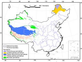 Frozen ground map of China based on a Map of the Glaciers, Frozen Ground and Deserts in China (1981-2006)