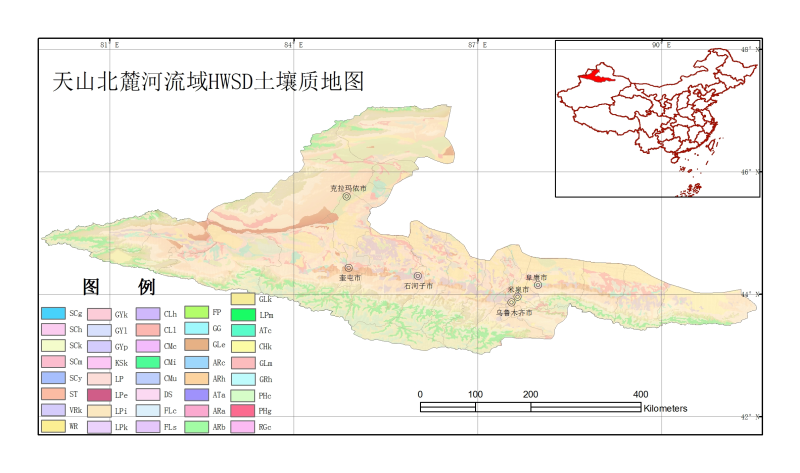 The HWSD soil texture dataset of the North_Slope_of_Tianshan River Basin (2009)