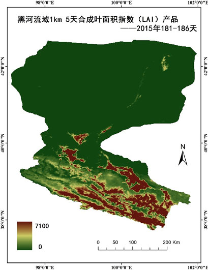 HiWATER: 1km/5day compositing Leaf Area Index (LAI) product of Heihe River Basin, 2015