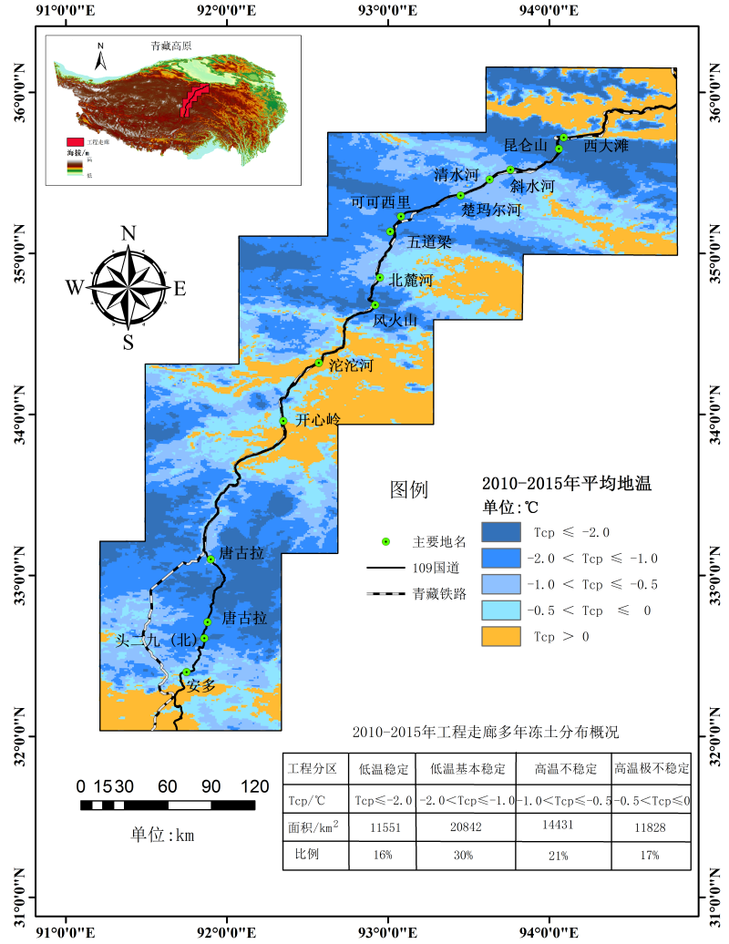 The ground temperature distribution Map of the Tibet engineering corridor (2010-2015)