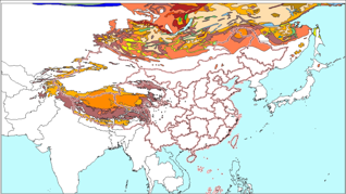 Permafrost map of China and its neighbors based on Circum-Arctic Map of Permafrost and Ground Ice Conditions (2001)