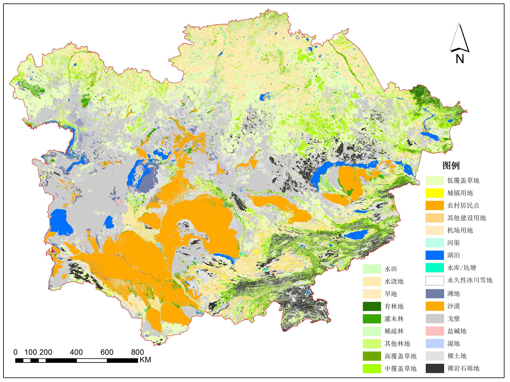 Thematic data on desertification (land desertification, salinization and vegetation degradation) in central Asia (2015)