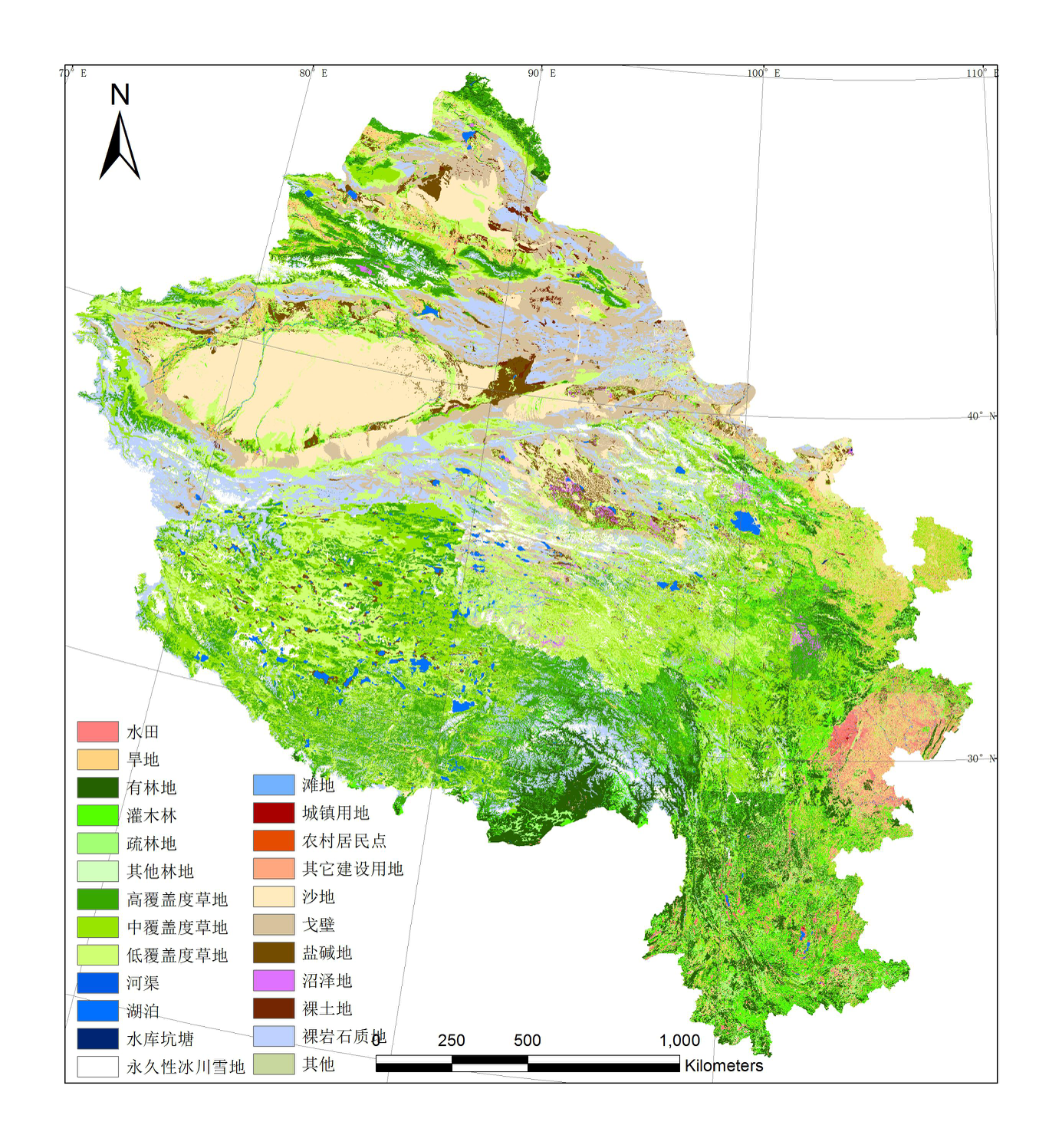 Remote sensing monitoring dataset of land use status in six provinces in western China for many years (1970s, 1980s, 1995, 2000, 2005, 2010, 2015)