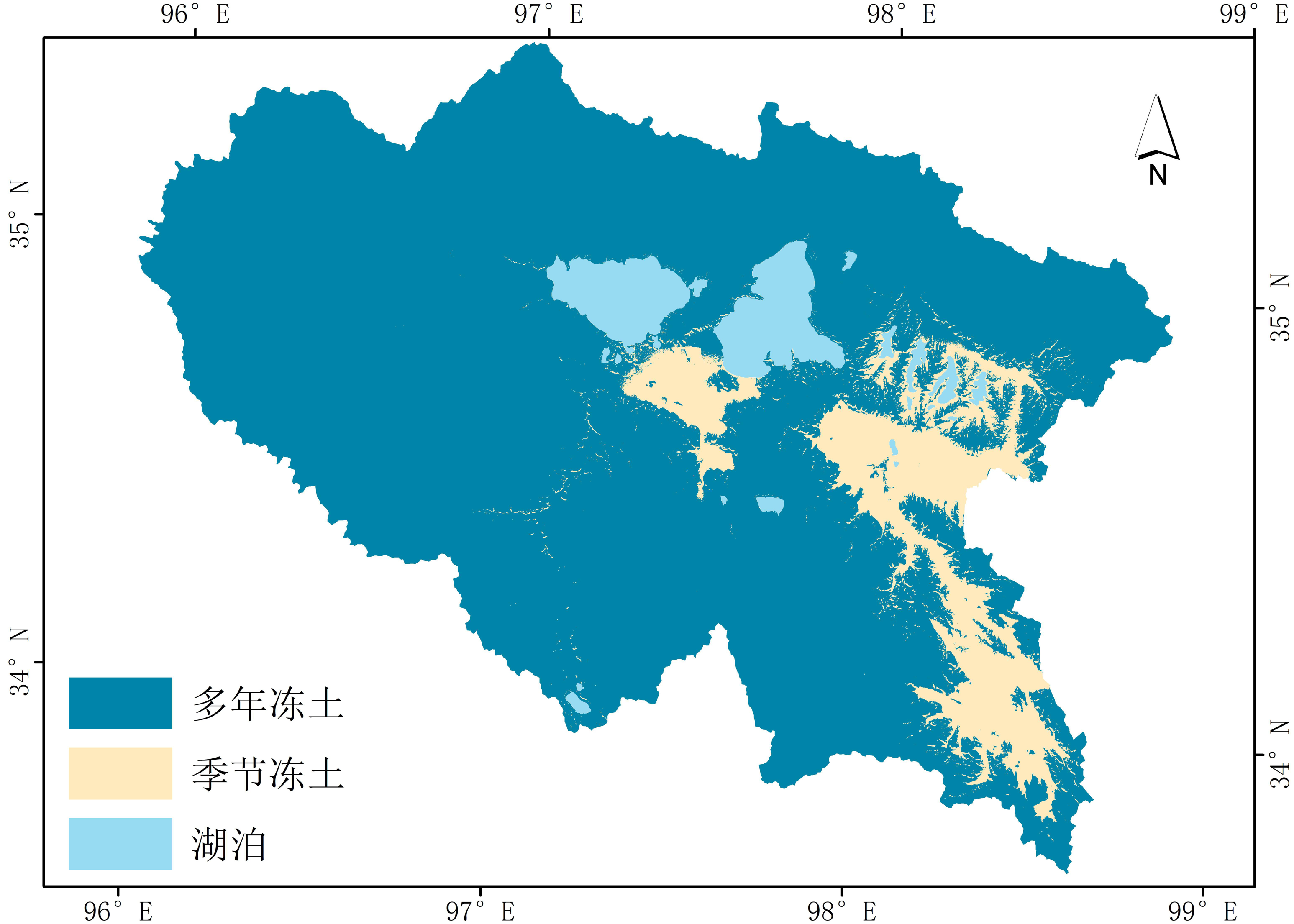 Distribution data of permafrost in the source area of the Yellow River (2013-2015)