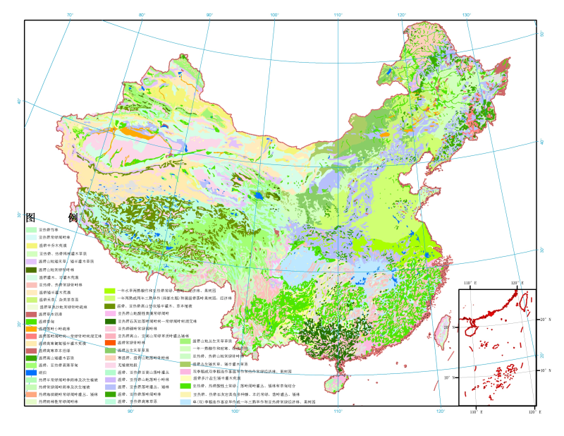The vegetation map at the 1:4,000,000 of China (1979)