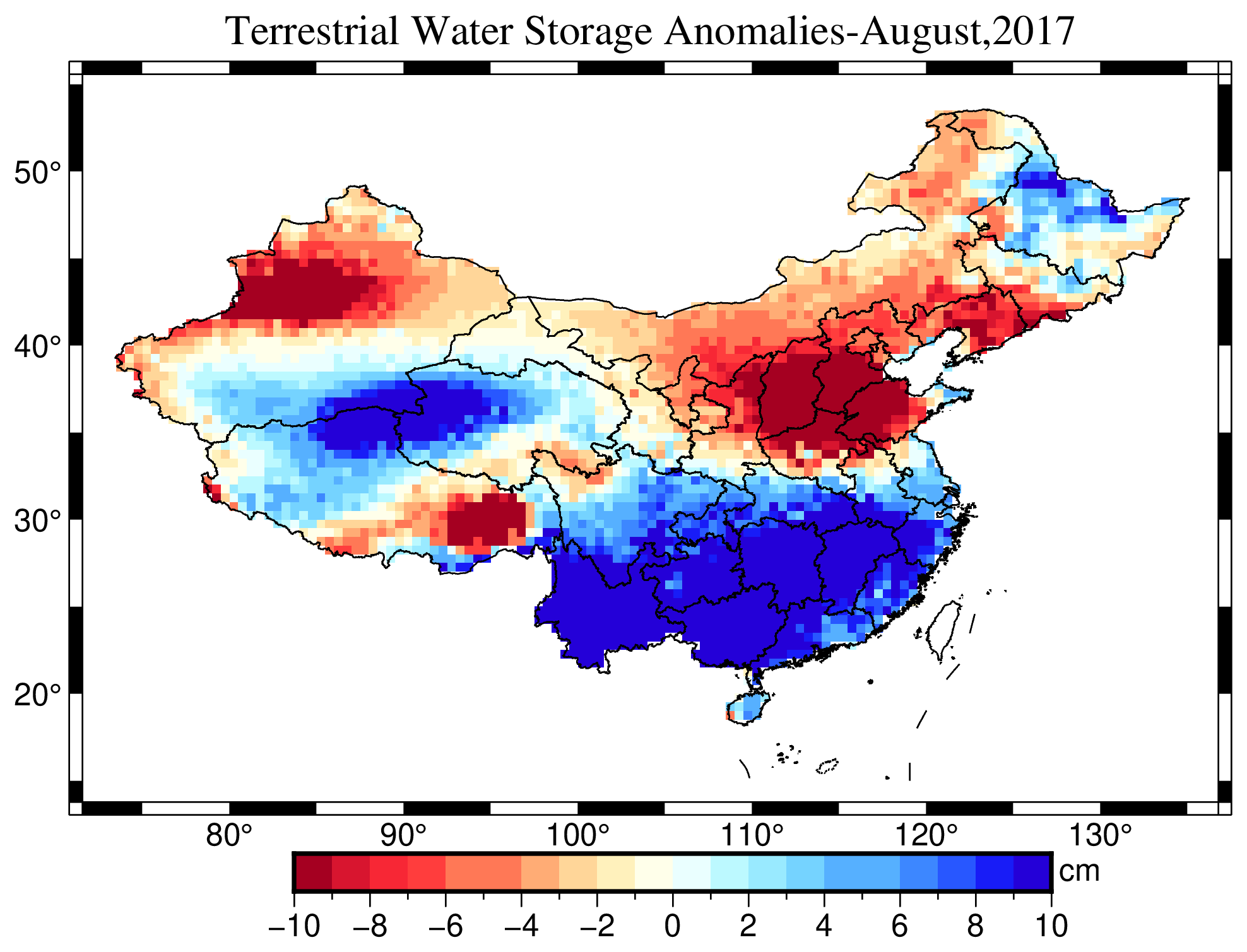 Dataset of reconstructed terrestrial water storage in China based on precipitation(2002-2019)