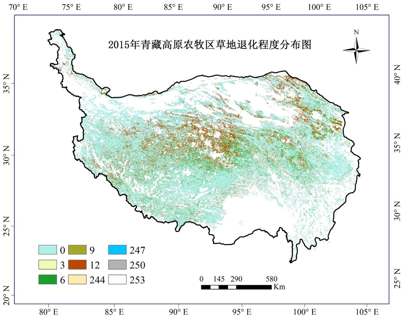 500 m grid data of grassland degradation assessment in agricultural and pastoral areas of the Qinghai-Tibet Plateau in 2015