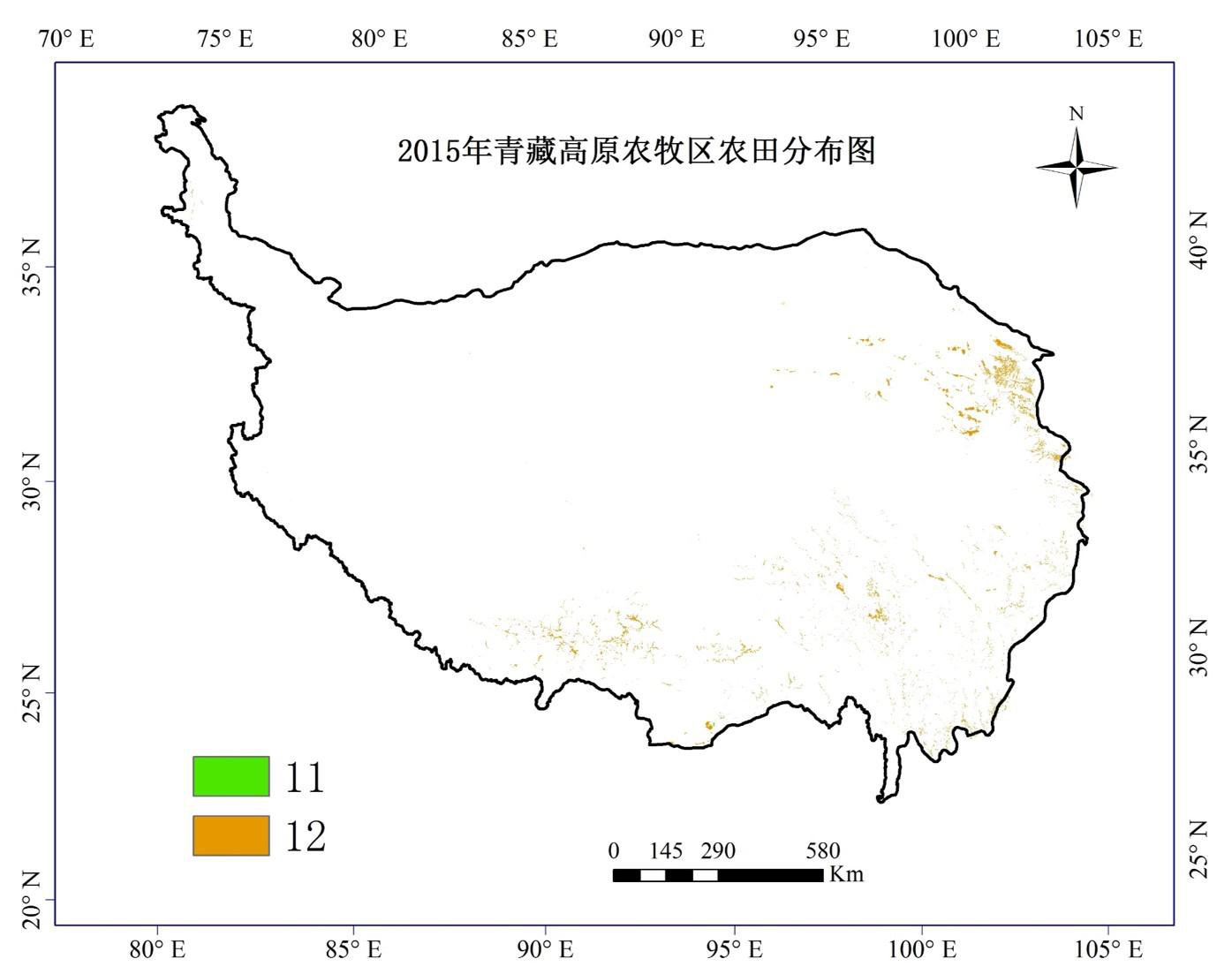 30 m grid data of farmland distribution in agricultural and pastoral areas of the Qinghai-Tibet Plateau in 2015