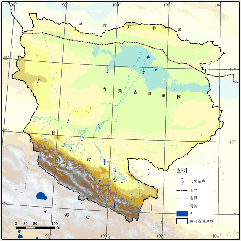 Meteorological observation stations distribution map of the Heihe River Basin