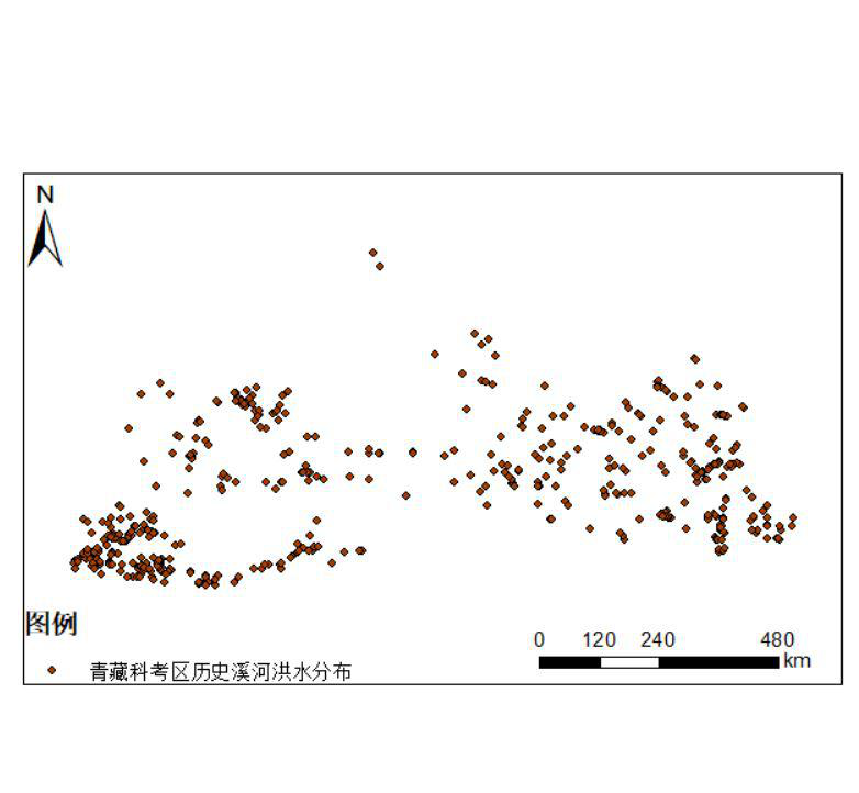 Flood distribution of historical streams and rivers in Qinghai Tibet scientific research area