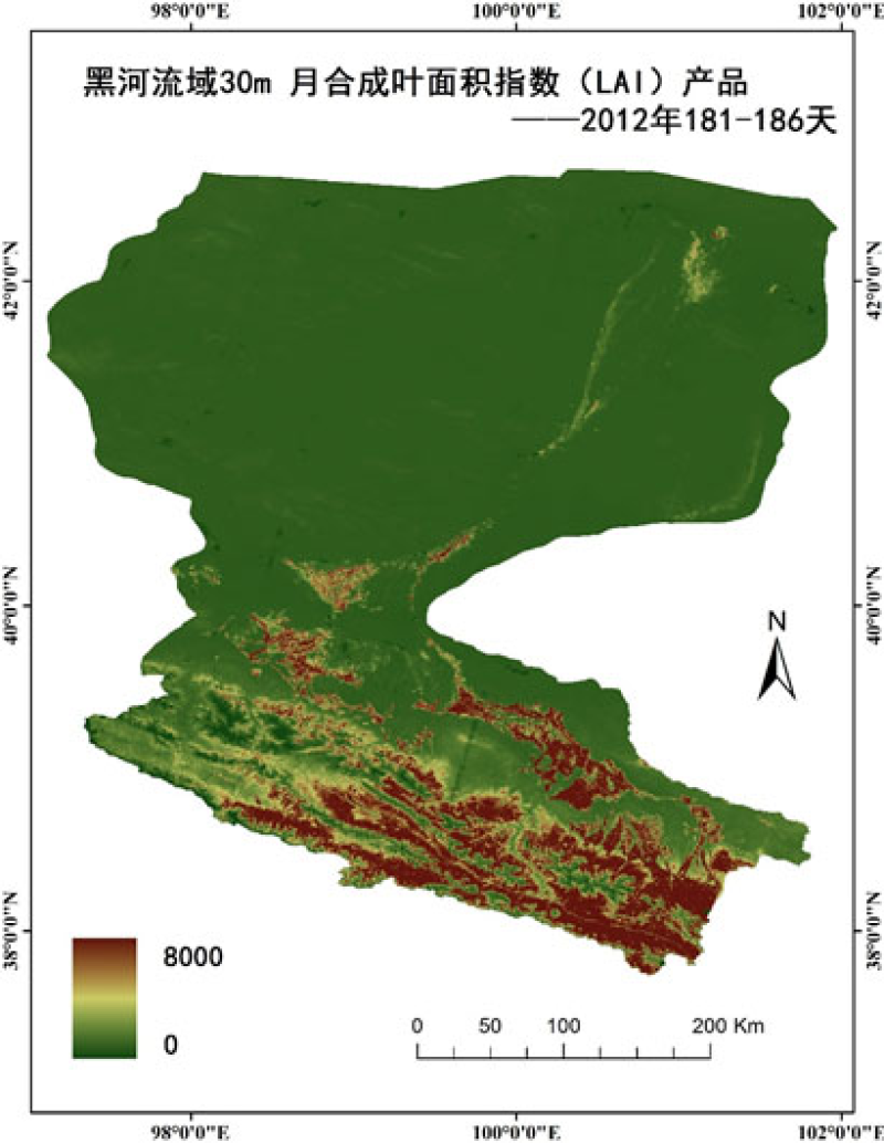HiWATER: 30m month compositing Leaf Area Index (LAI) product of the Heihe River Basin
