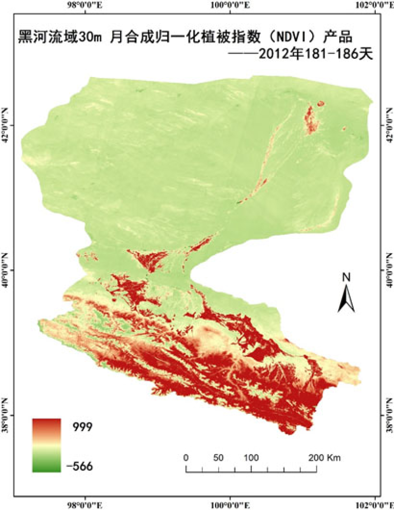 HiWATER: 30m month compositing vegetation index (NDVI/EVI) product of Heihe River Basin (2011-2014)