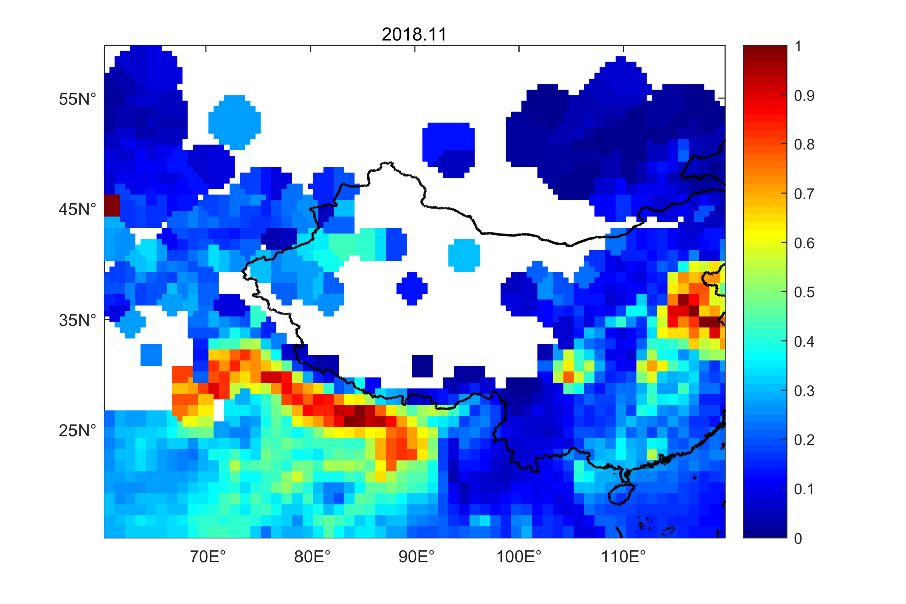 This dataset of Aerosol optical thickness over the central and western part of China