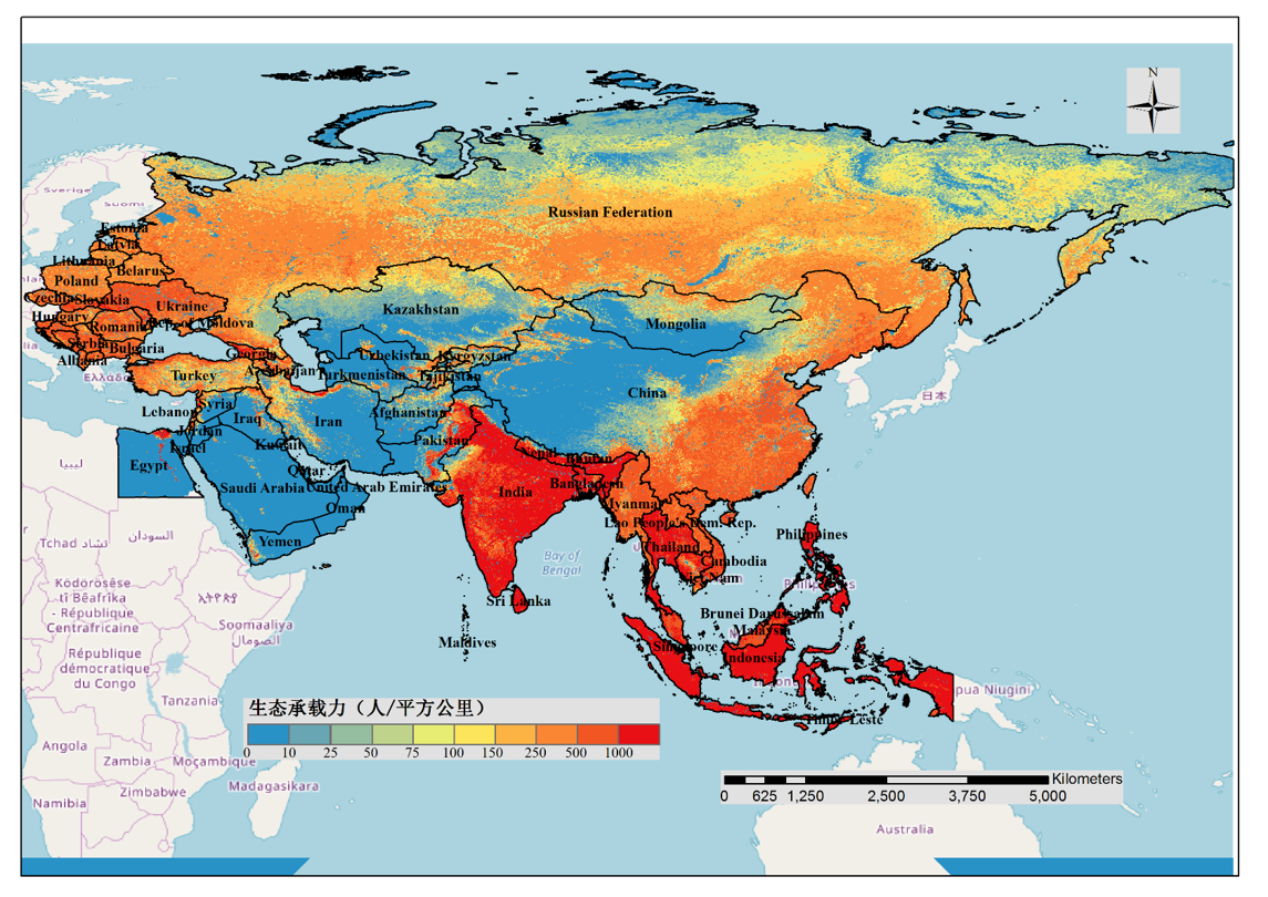 Spatial distribution map of ecological carrying capacity in One Belt And One Road area in 2015