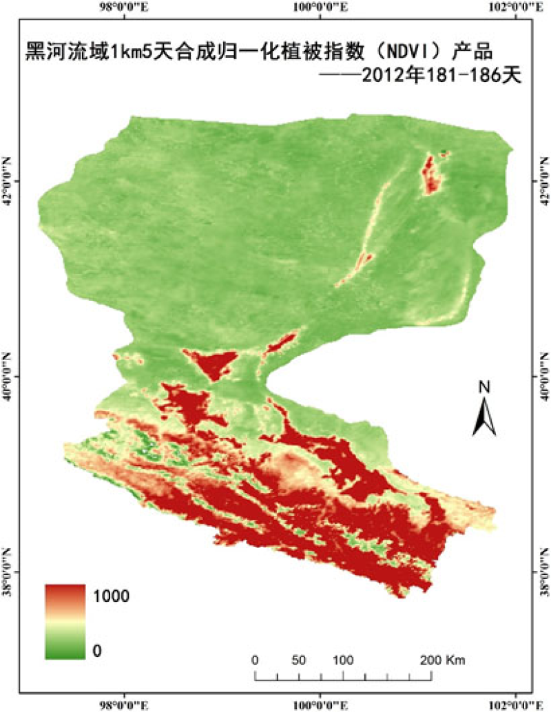 HiWATER: 1km/5day compositing vegetation index (NDVI/EVI) product of the Heihe River Basin (2011-2014)