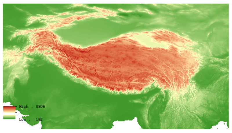 The SRTM digital elevation dataset of the Tibetan Plateau (2000)