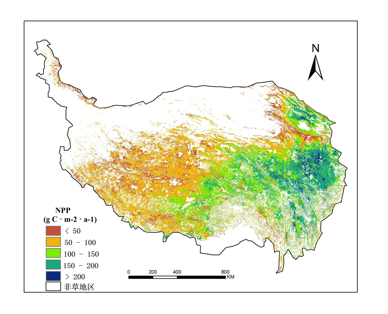 Monthly net primary productivity (NPP) dataset of the Qinghai Tibet Plateau (2012-2015)