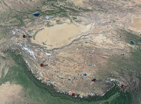 Black carbon concentration at 5 stations over Tibetan Plateau (2018)