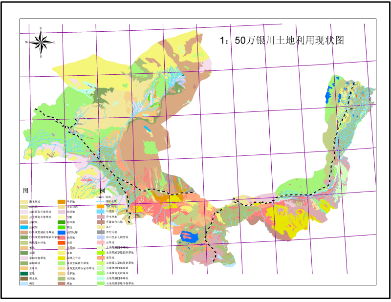 The presert state map of land use over Yinchuan (1:500,000)