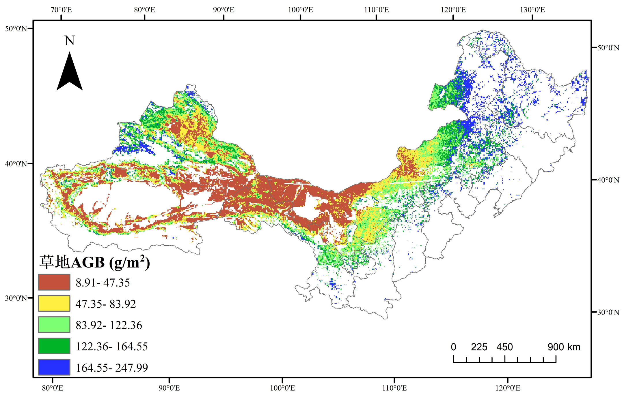 Aboveground biomass data set of temperate grassland in northern China (1993-2019)