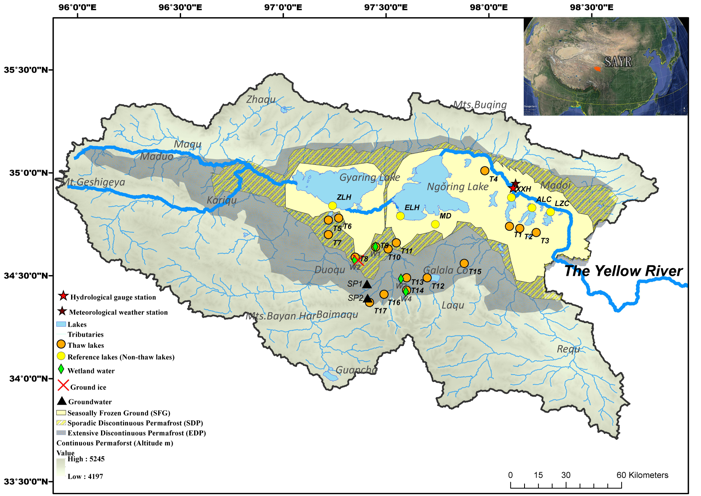 Hydrogen and oxygen isotopes and hydrological information data set of lake water in the source area of the Yellow River (2014-2016)