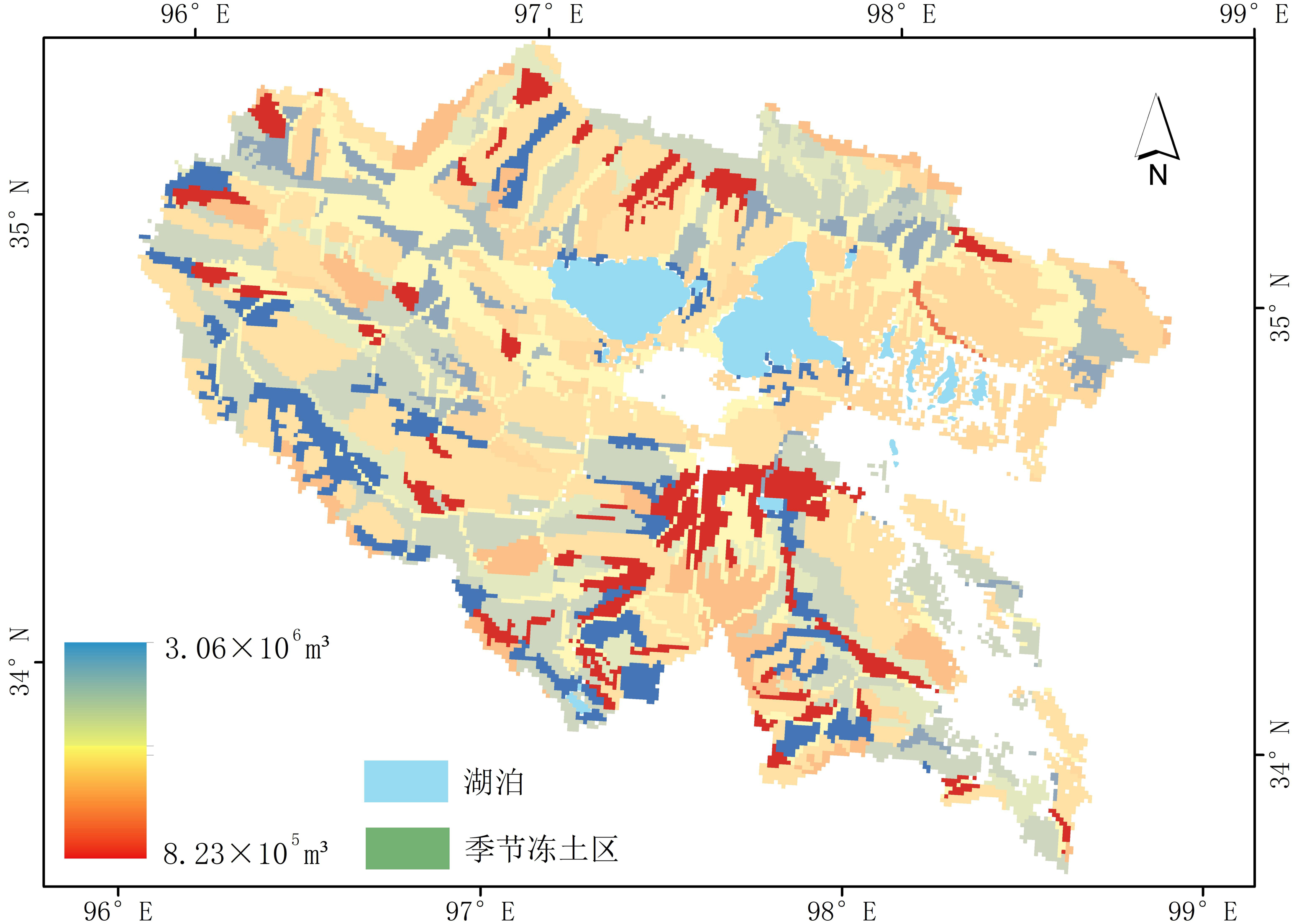 Distribution data of underground ice in permafrost in the source area of the Yellow River (2013-2015)