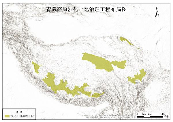 Geographical distribution of major ecological projects on the Tibetan Plateau