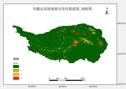 The dataset of wetland pattern changes on the Tibet Plateau (1970s, 2000s)