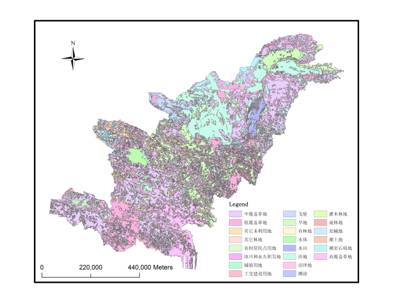 1:100,000 landuse data in the Yellow River Upstream (2005)