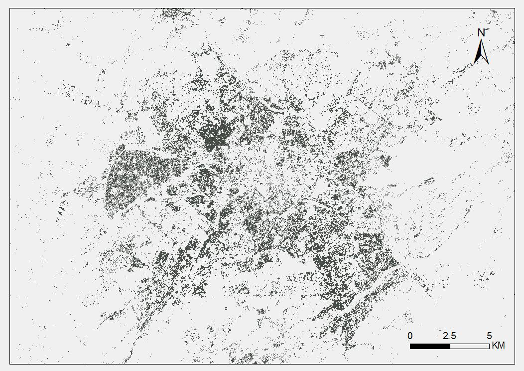 Spatial pattern data of five major cities in central Asia - Toshkent (1990, 2018)