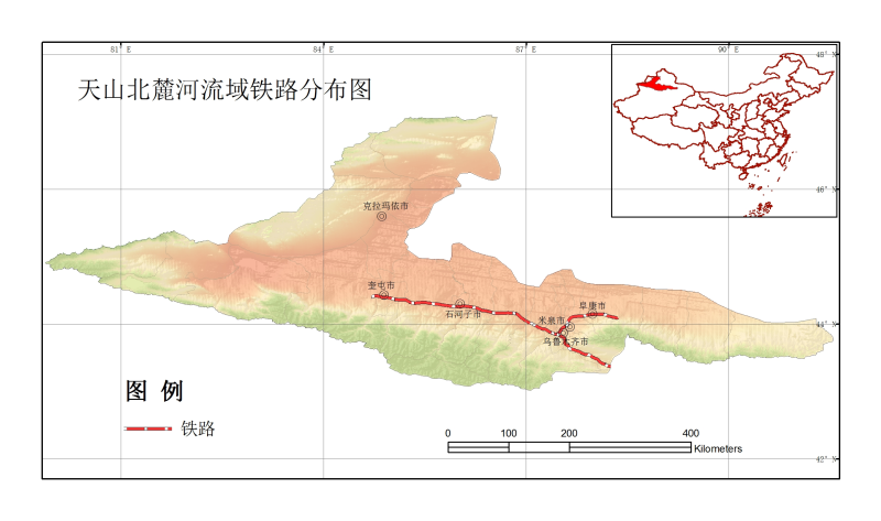 Rail map of the North_Slope_of_Tianshan River Basin (2000)