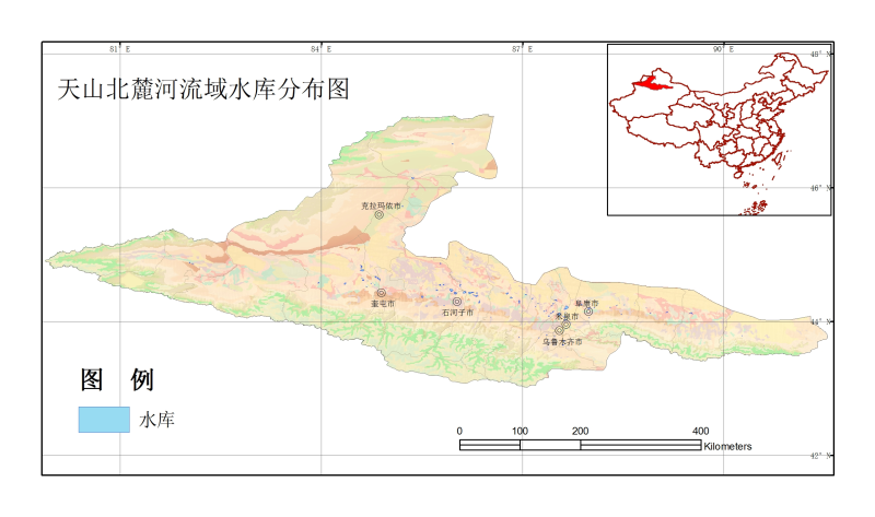 Reservoirs map of the North_Slope_of_Tianshan River Basin (2000)