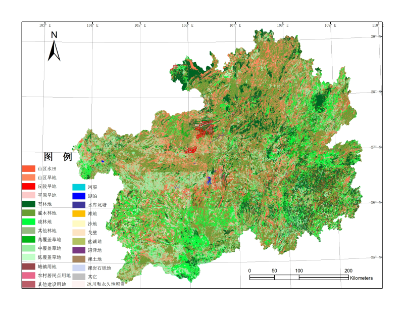 1:100000 land use data set of Guizhou Province (1995)