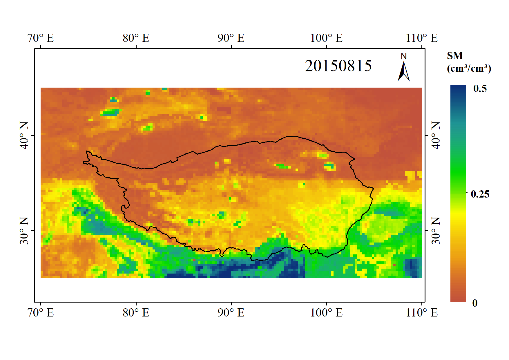 Land Surface Soil Moisture Dataset of SMAP Time-Expanded Daily 0.25°×0.25° over Qinghai-Tibet Plateau Area (SMsmapTE, V1)