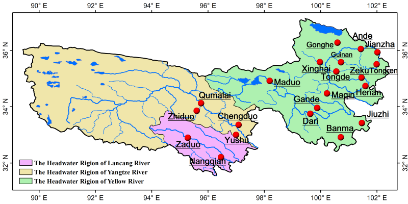 The boundaries of the source regions in Sanjiangyuan region (2018)
