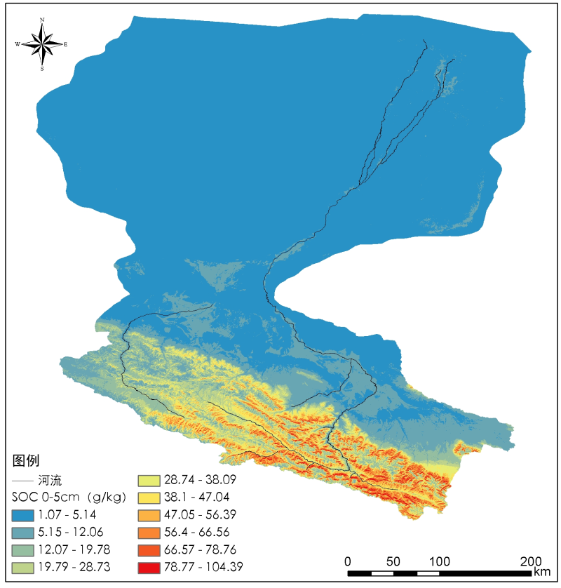 Digital soil mapping dataset of soil organic carbon content in the Heihe River Basin (2012)
