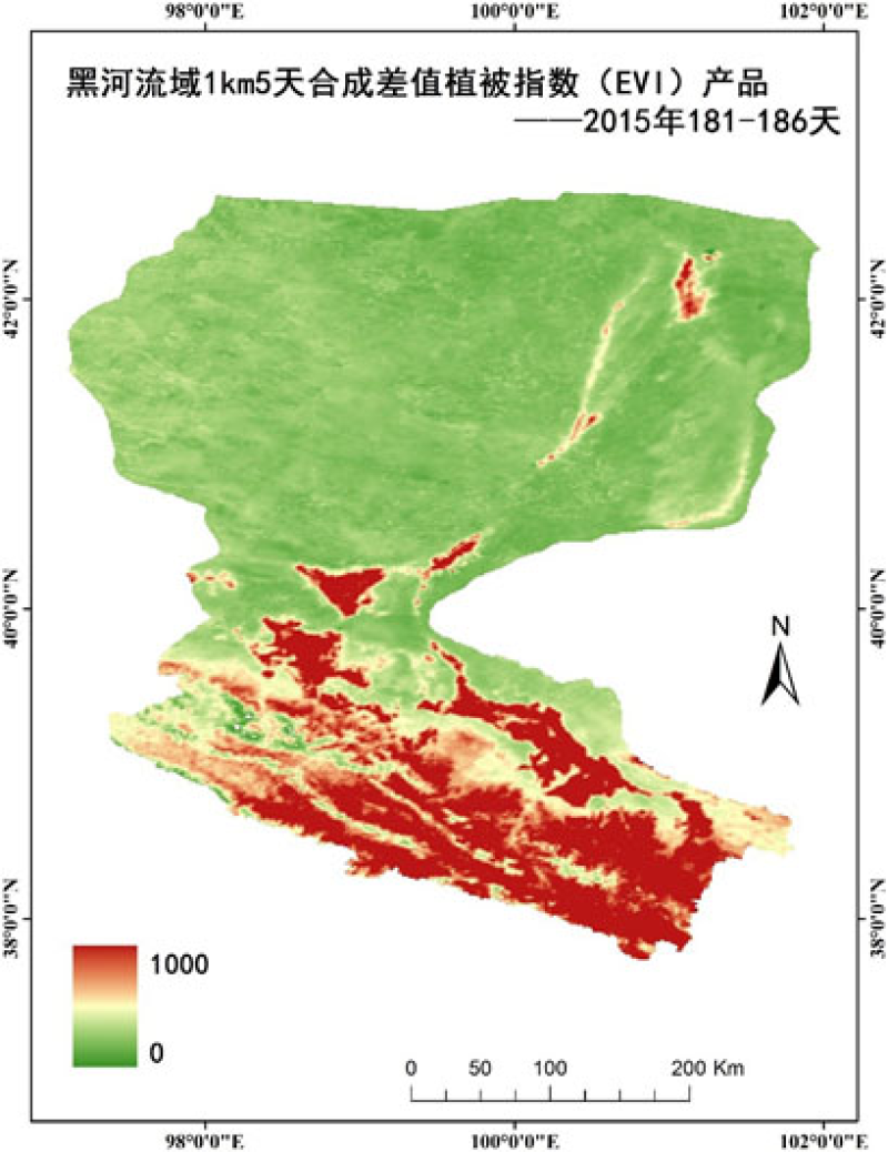 HiWATER: 1km/5day compositing vegetation index (NDVI/EVI) product of the Heihe River Basin, 2015