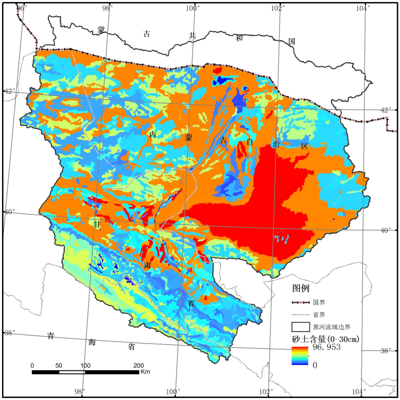 Grain size distribution of soil particles dataset of the Heihe basin