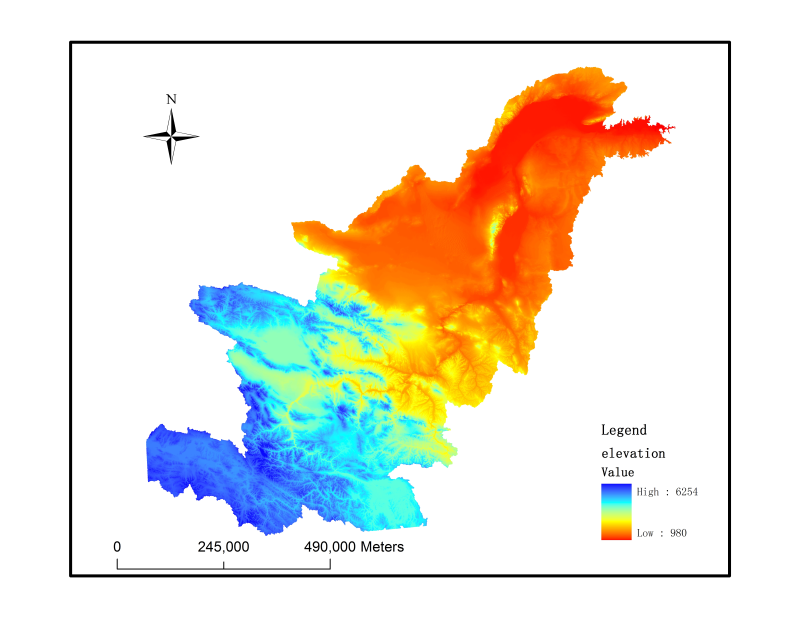 Elevation dataset of ASTER_DEM in the Yellow river upstream (2009)