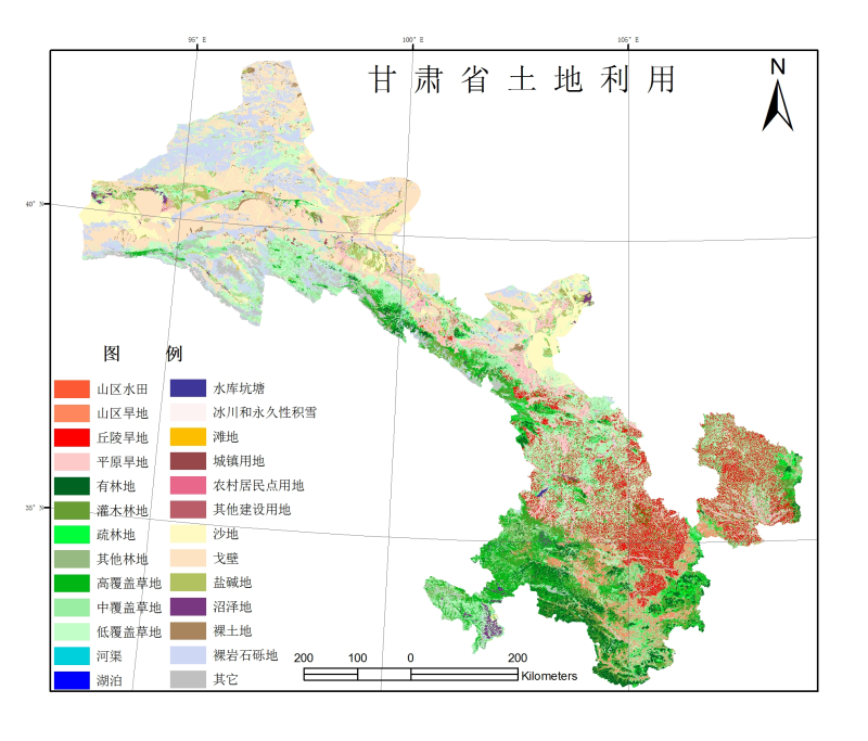 1:100,000 land use dataset of Gansu Province (1980s)
